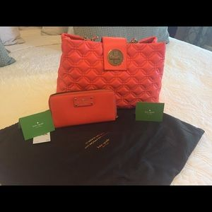 Kate Spade coral handbag and wallet